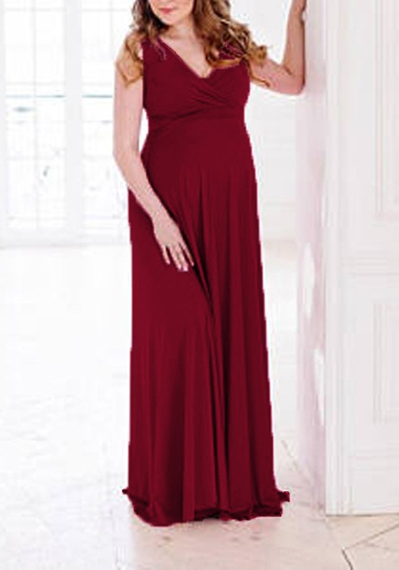 Burgundy Draped Flowy V Neck Maternity For Babyshower Elegant Party Maxi  Dress