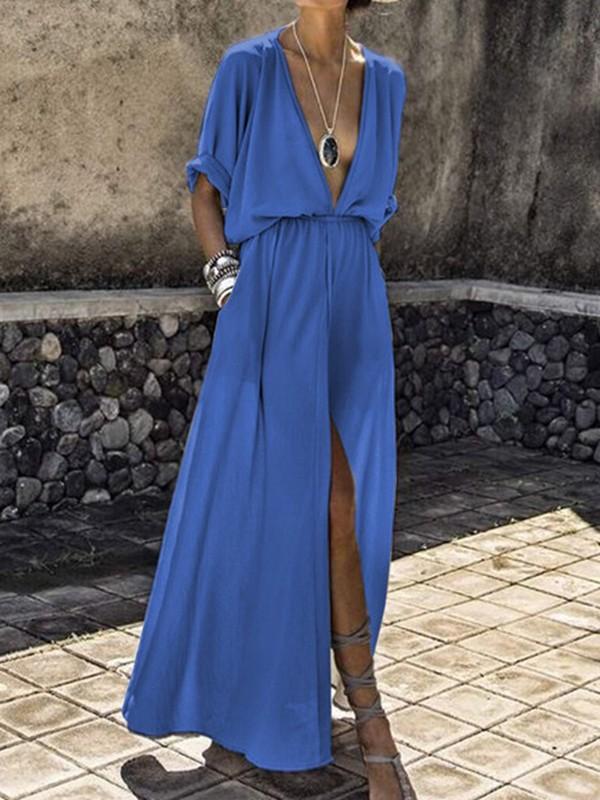 a36e245a882b Light Blue Pockets Draped Drawstring Slit Deep V-neck Flowy Bohemian Party  Maxi Dress - Maxi Dresses - Dresses