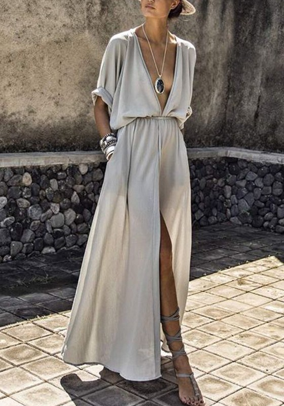 Grey Pockets Draped Drawstring Side Slit Deep V-neck Flowy Bohemian Party  Maxi Dress - Maxi Dresses - Dresses c4512715c