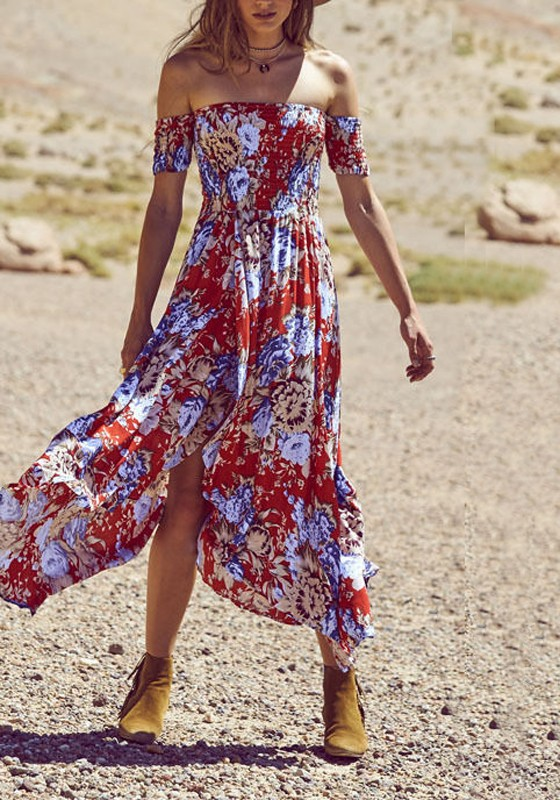 1a9a943b08 Red Floral Draped Slit Irregular Off Shoulder Ruched Flowy Bohemian Party Maxi  Dress
