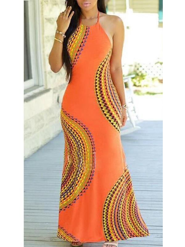 Orange Tribal Print Cut Out Backless Slit Halter Neck Off Shoulder ...