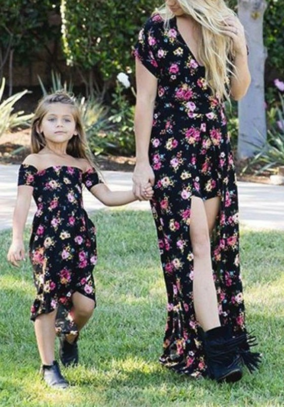 82adbdd0cc0 Black Floral Flowy Deep V-neck Retro High Waisted Bohemian Party Romper  With Train - Maxi Dresses - Dresses