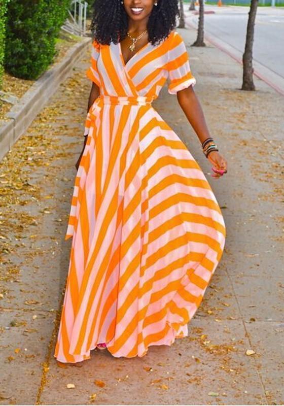 560fb9dcd920 Orange-White Striped Sashes Draped V-neck High Waisted Elegant Bohemian  Party Maxi Dress - Maxi Dresses - Dresses
