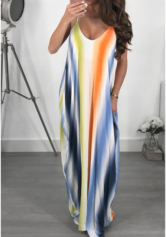 61d8fcaa6a Blue Striped Pockets Draped Spaghetti Strap Rainbow Backless Boho Party Maxi  Summer Dress - Maxi Dresses - Dresses