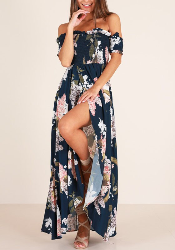 3c05fc8a5179 Black Floral Ruffle Slit Off Shoulder Ruched Flowy Bohemian Country Party  Maxi Dress - Maxi Dresses - Dresses