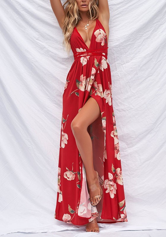 65349a59ad05 Red Floral Slit Lace-up Flowy Spaghetti Strap V-neck BohemianCountry Party  Maxi Dress - Maxi Dresses - Dresses