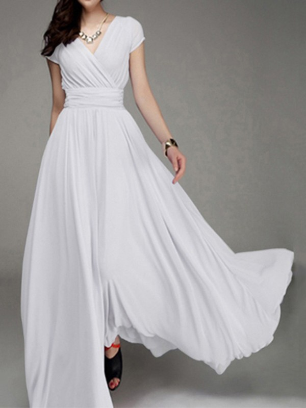 2a2997b614e White Ruched Flowy V-neck High Waisted Bohemian Bridesmaid Graduation Party  Maxi Dress - Maxi Dresses - Dresses