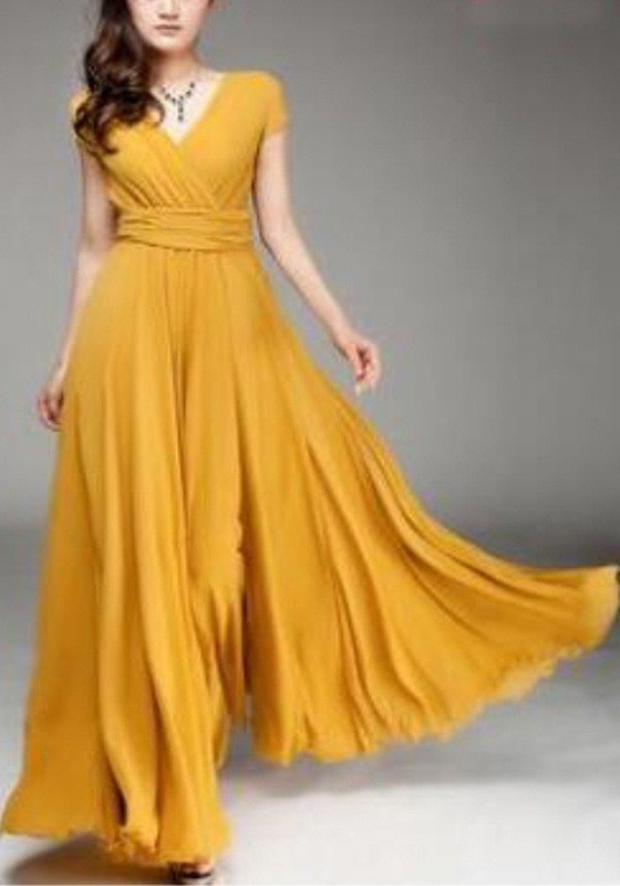 5019122d86 Mustard Yellow Ruched V-neck High Waisted Flowy Bohemian Bridesmaid  Graduation Party Maxi Dress - Maxi Dresses - Dresses