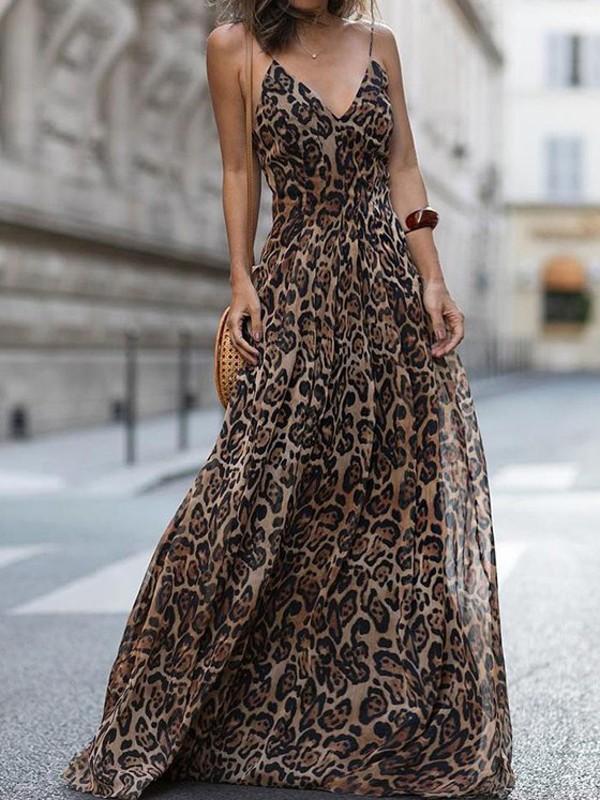 81f459f8d3e Brown Leopard Print Spaghetti Strap Deep V-neck Flowy Bohemian Beach Party Maxi  Dress - Maxi Dresses - Dresses