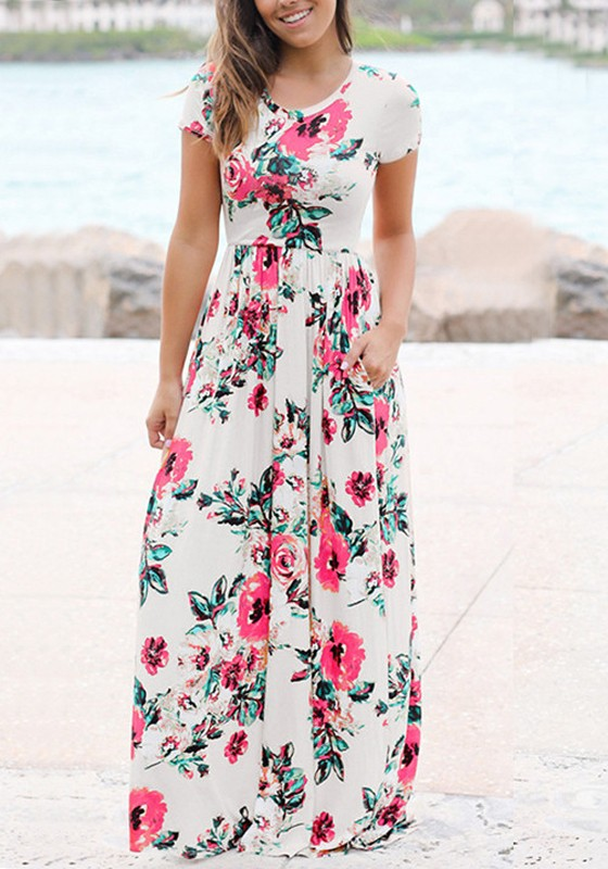 7b2a19b6398d White Floral Pockets Draped Flowy High Waisted Bohemian Elegant Party Maxi  Dress - Maxi Dresses - Dresses