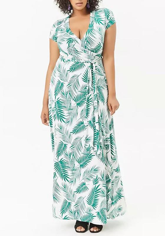Green Floral Palm Leaf Print Sashes Plus Size Bohemian Maxi Dress ...