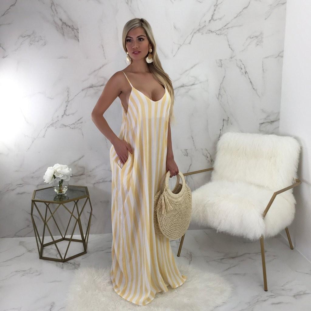 50db61b4fa Yellow White Striped Spaghetti Strap Pockets Backless Slouchy U-neck Casual Maxi  Dress
