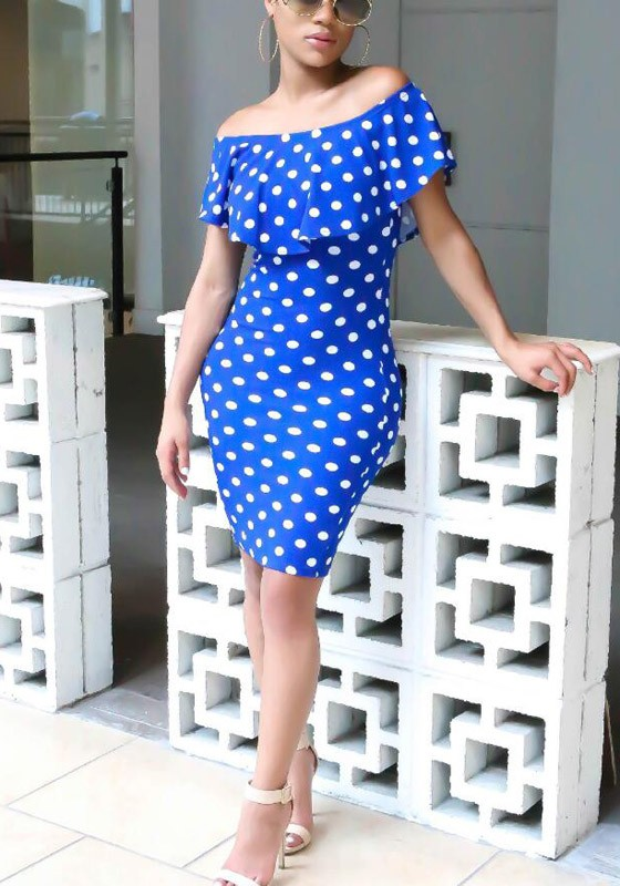 819517789b8 Blue White Polka Dot Print Ruffle Off Shoulder Bodycon Sweet Going out  Party Mini Dress - Mini Dresses - Dresses