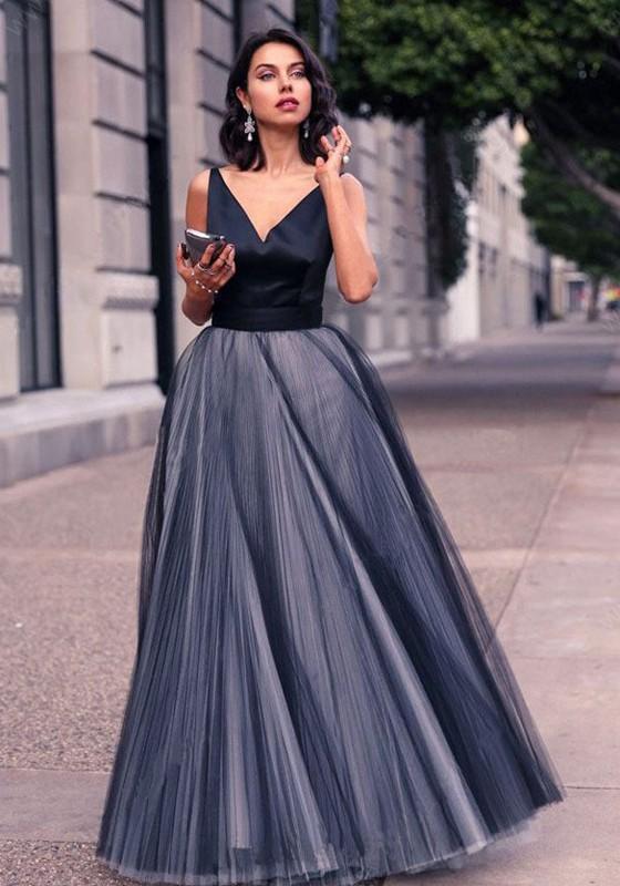 chaussures d'automne en présentant super qualité Robe maxi longue tutu tulle v-cou sans manches élégant bal de promo noir