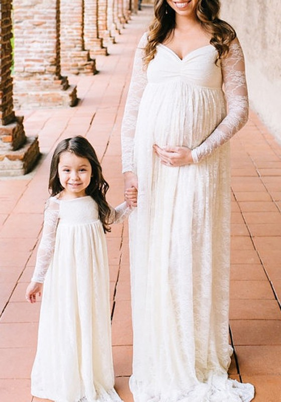 ca6ee1b8b10fc White Lace Draped Off Shoulder Big Swing Backless For Babyshowes Maternity  Midi Dress - Maternity Dresses - Women's Maternity