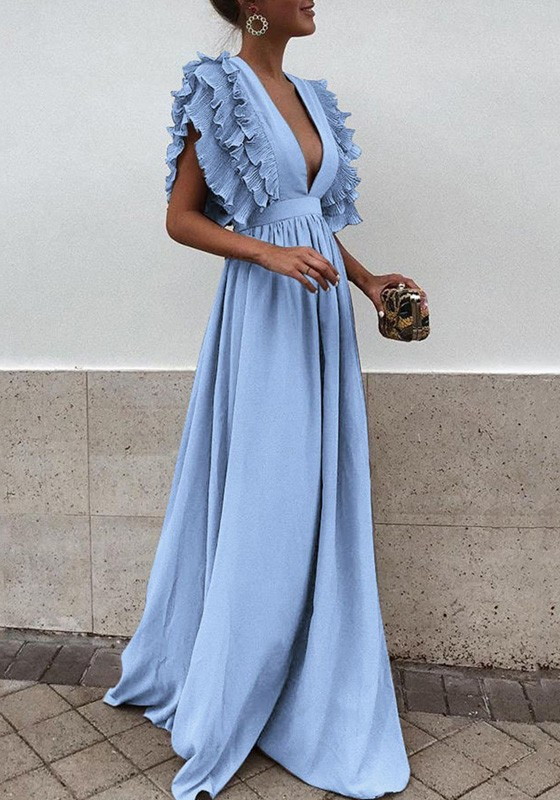 892708d356 Light Blue Pleated Ruffle Deep V-neck Evening Party Prom Cute Elegant Maxi  Dress - Maxi Dresses - Dresses