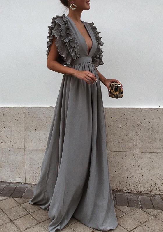 ef2dd69e0 Vestido largo volante plisado escote en V profundo fiesta de graduación  lindo elegante gris