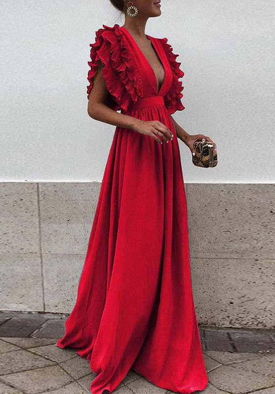 920ef63766 Red Pleated Ruffle Deep V-neck Evening Party Prom Cute Elegant Maxi Dress - Maxi  Dresses - Dresses