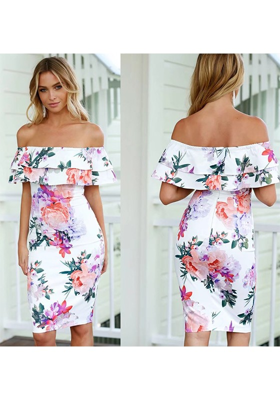 White floral print collarless boat neck fashion midi dress midi white floral print collarless boat neck fashion midi dress mightylinksfo