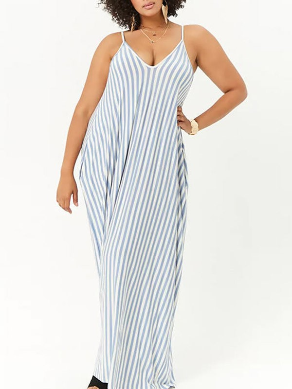 6fa8e8dbadfe Light Blue-White Striped Draped Pockets Spaghetti Strap Plus Size Casual Maxi  Dress - Maxi Dresses - Dresses