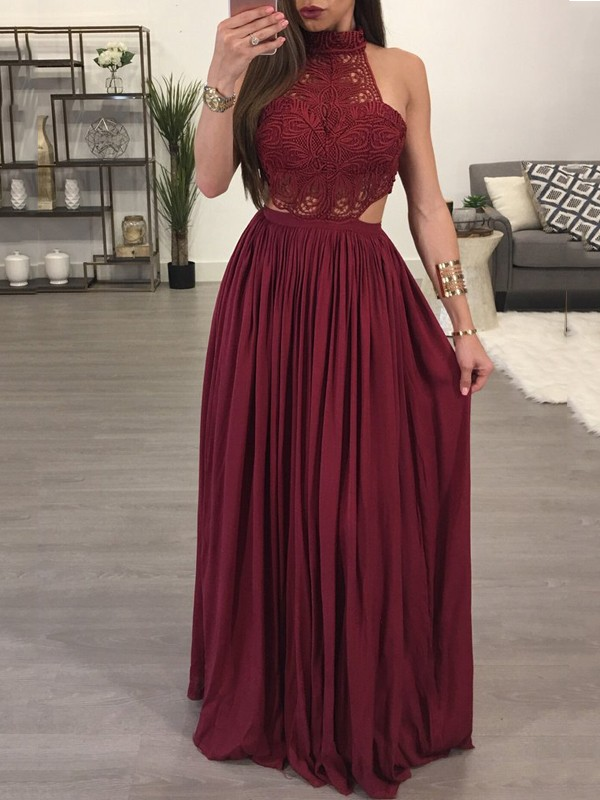 d4cb41ae841 Red Patchwork Lace Backless Pleated Halter Neck Elegant Party Maxi Dress - Maxi  Dresses - Dresses