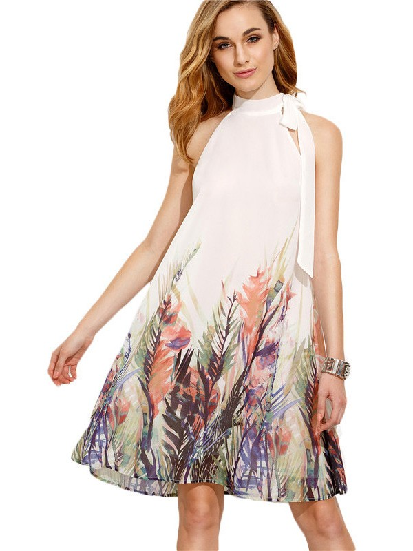 02d09a0608f White Floral Print Knee Length Casual Midi Dress