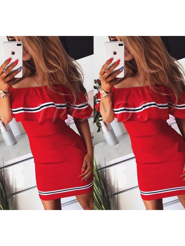 c5d4f771bb Red Ruffle Backless Off Shoulder Bodycon Boat Neck Sweet Homecoming Party  Mini Dress - Mini Dresses - Dresses