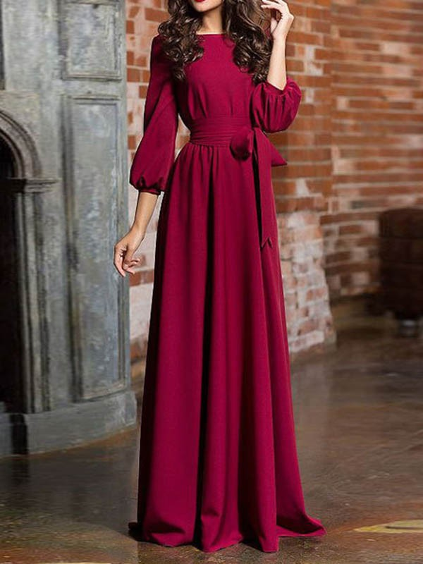 13eafb79b5c Burgundy Sashes Draped Long Sleeve Round Neck Elegant Maxi Dress - Maxi  Dresses - Dresses