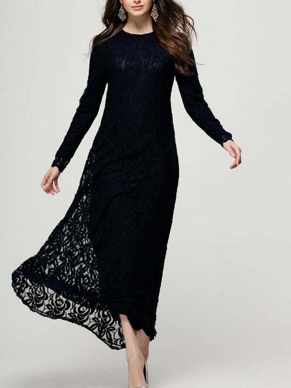 2a9049ebc16f Black Patchwork Lace Floral Draped Round Neck Long Sleeve Elegant Prom Maxi  Dress - Maxi Dresses - Dresses
