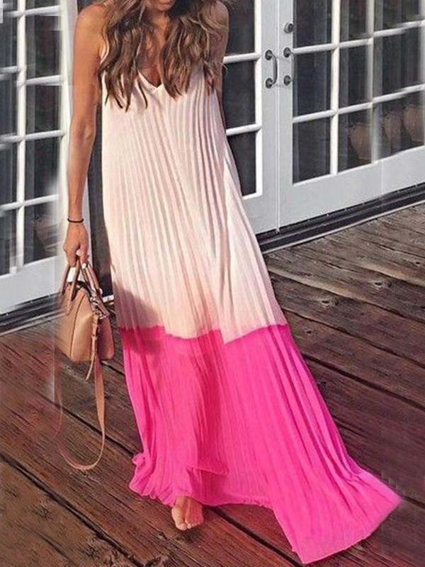 ac32fbc5185bc Pink Spaghetti Strap V-neck Ruched Draped Flowy Beachwear Country Bohemian Party  Maxi Dress - Maxi Dresses - Dresses