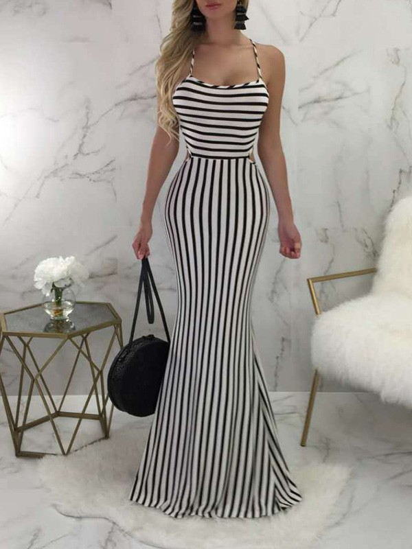 5f8365aac63 White-Black Striped Halter Neck Backless Cross Back Bodycon Mermaid Prom  Evening Party Maxi Dress - Maxi Dresses - Dresses
