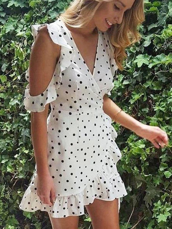 de0eeae6014 White Polka Dot Ruffle Bow Sweet Going out Mini Dress - Mini Dresses -  Dresses