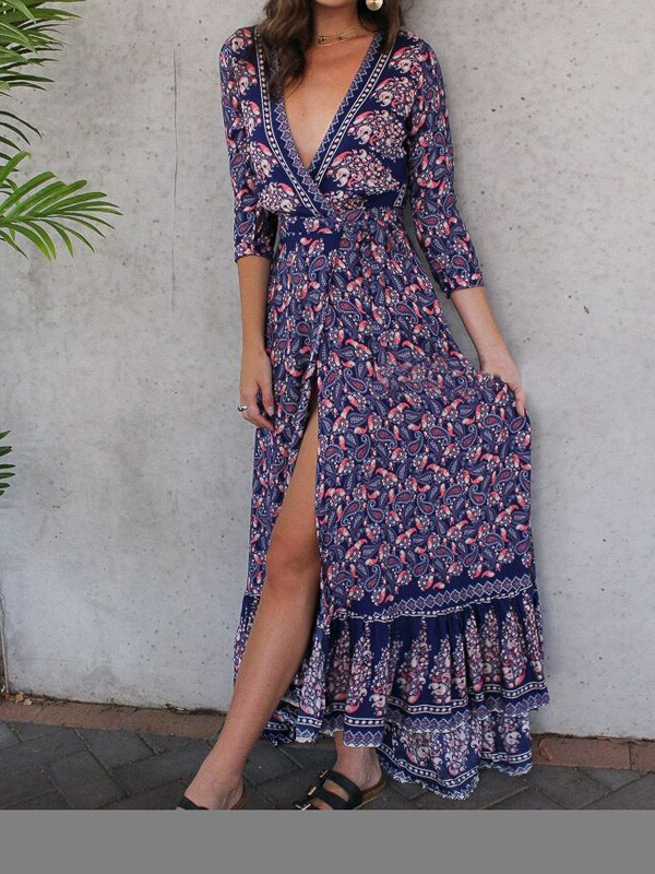 Blue Floral Ruffle Irregular Deep V-neck Slit Draped Flowy Country ...