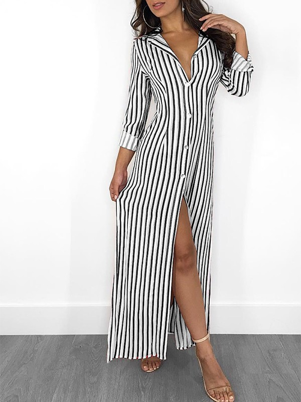 c2d60b0e7 Black White Striped Buttons V-neck Fashion Maxi Dress - Maxi Dresses -  Dresses
