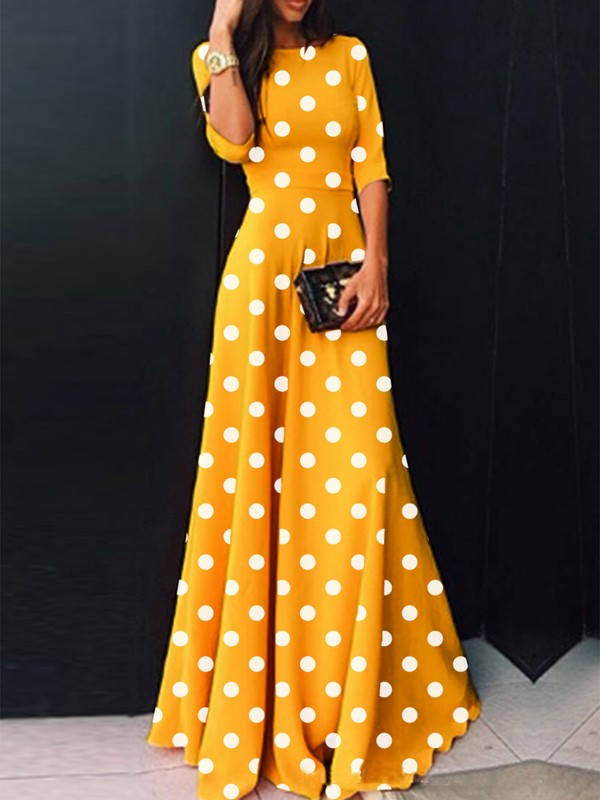 Yellow Polka Dot High Waisted Draped Plus Size Elegant Homecoming Party  Maxi Dress