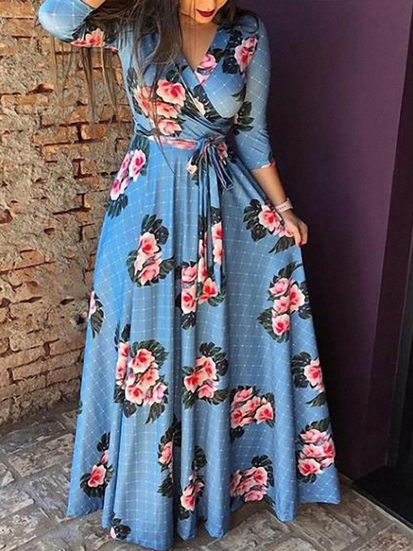 017b2417db Blue Floral Print Sashes V-neck Long Sleeve Fashion Maxi Dress ...