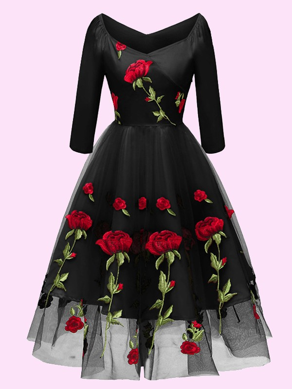 9c289d841f6 Black Floral Off Shoulder Embroidery Grenadine Pleated Tutu Mexican Elegant  Homecoming Party Midi Dress