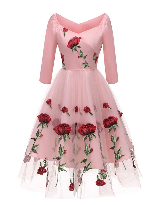 7fb96be4b0 Pink Floral Off Shoulder Embroidery Grenadine Pleated Tutu Mexican Elegant  Homecoming Party Midi Dress - Midi Dresses - Dresses
