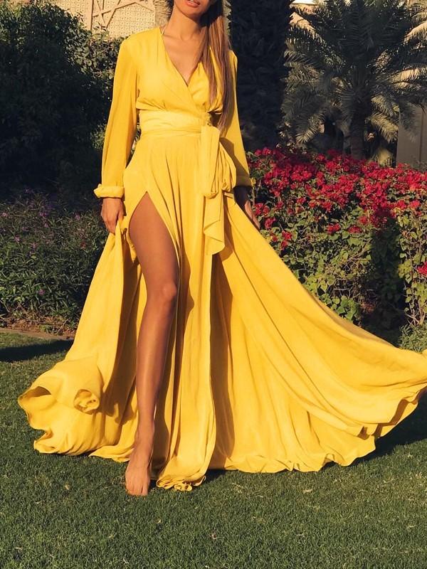 9b107f914e Yellow Belt Draped Thigh High Side Slits Deep V-neck Bohemian Beachwear Maxi  Dress