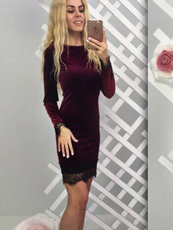 66818075b9a3 Wine Red Patchwork Lace Long Sleeve Party Midi Dress - Midi Dresses -  Dresses