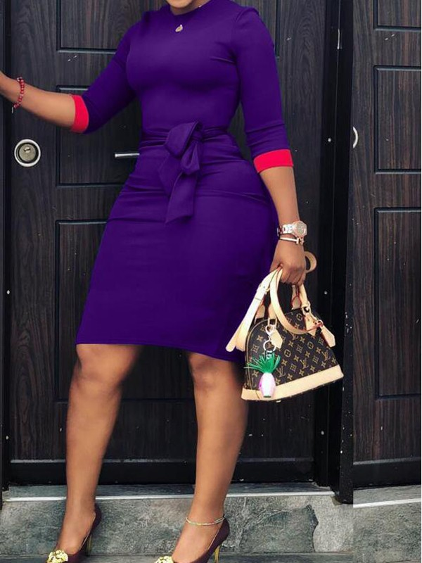 Purple-Red Patchwork Sashes 3/4 Sleeve Plus Size Bodycon Office  Worker/Daily Midi Dress