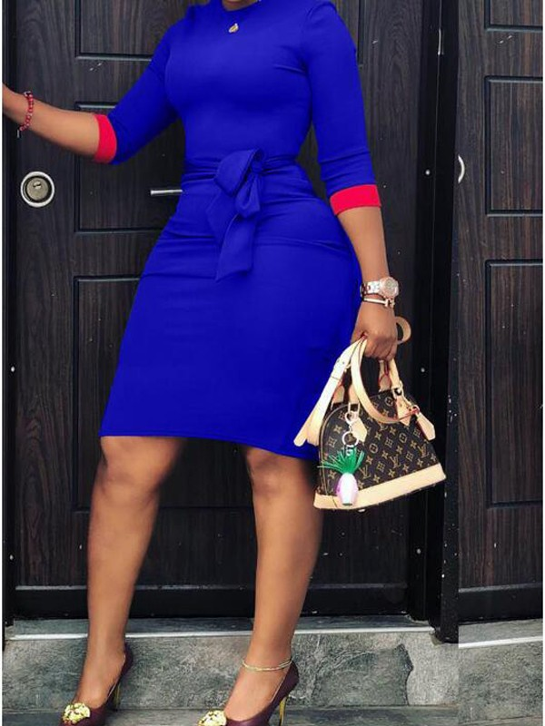 Royal Blue Patchwork Sashes 3/4 Sleeve Plus Size Bodycon Office  Worker/Daily Midi Dress