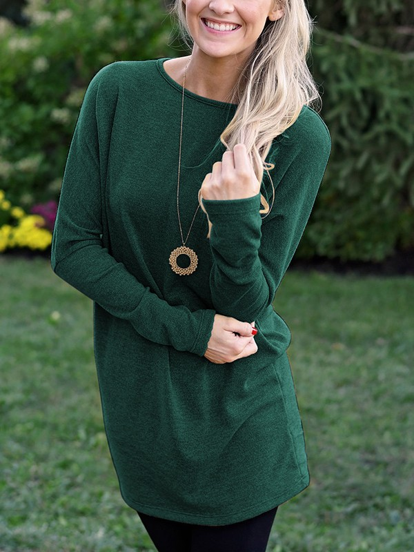bfd7dcbe419a Dark Green Irregular Loose Comfy Long Sleeve Round Neck Casual Fashion Mini  Sweater Dress - Mini Dresses - Dresses