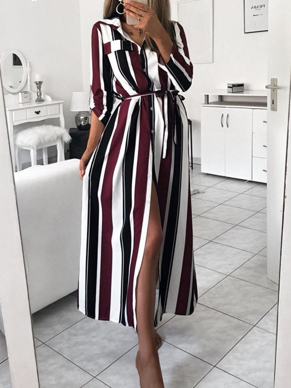 2528cc96fde Wine Red Striped Single Breasted Sashes Side Slit Turndown Collar Long  Sleeve Casual Maxi Dress - Maxi Dresses - Dresses