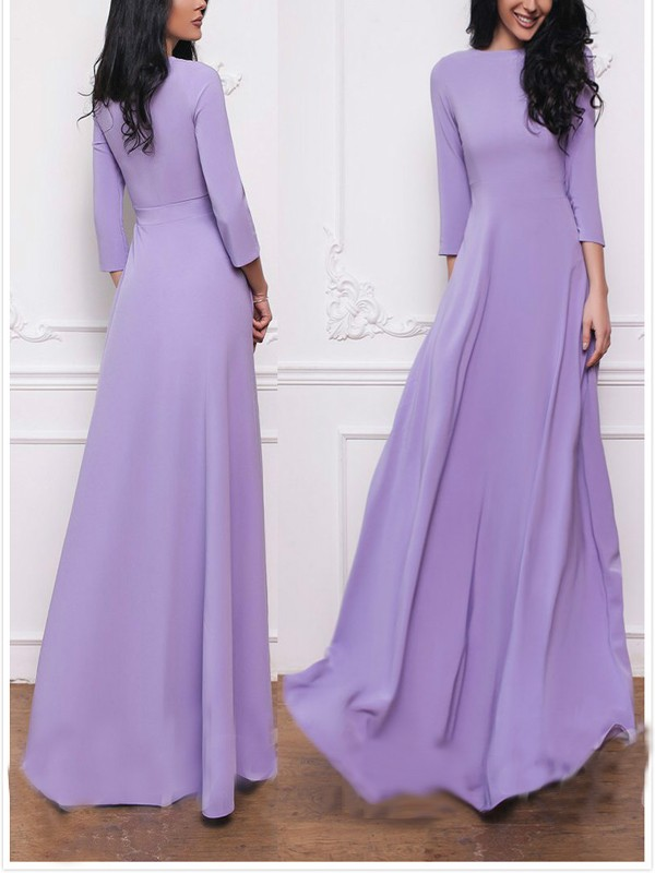 7a3cf647bd78 Purple Pleated Long Sleeve Round Neck Big Swing Elegant Church Party Maxi  Dress - Maxi Dresses - Dresses
