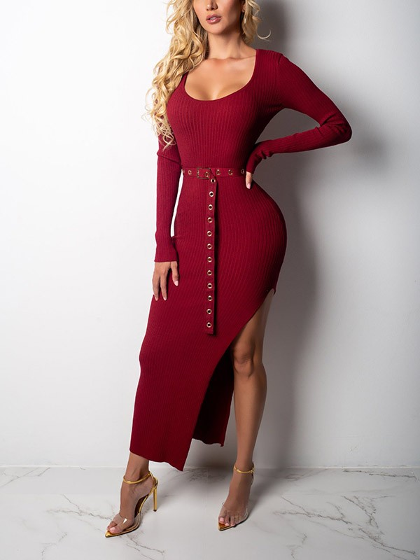 84db5a5ff03 Red Draped Side Slit Belt Bodycon Round Neck Long Sleeve Party Sweater Maxi  Dress - Maxi Dresses - Dresses