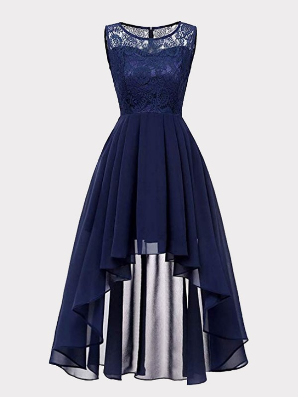 91c9d727b Navy Blue Patchwork Lace High-low Draped Sleeveless Homecoming Party Maxi  Dress - Maxi Dresses - Dresses