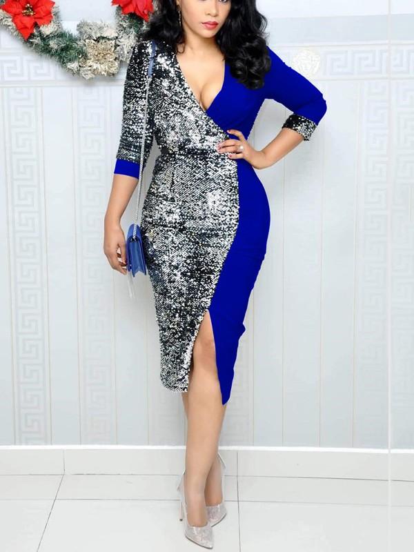 5512535f2dd6 Blue Patchwork Sequin Front Slit Deep V-neck Long Sleeve Sparkly Glitter  Party Midi Dress - Midi Dresses - Dresses