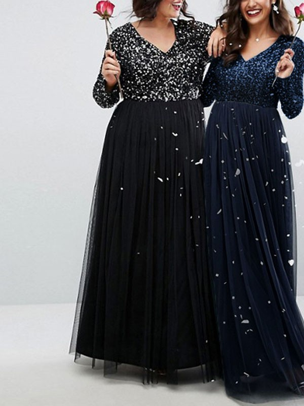 b43a27d293e Sapphire Blue Patchwork Sequin Grenadine V-neck Long Sleeve Plus Size  Sparkly Glitter Party Maxi