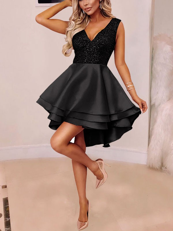 8d755267f857 Black Patchwork Sequin Cascading Ruffle Pleated High-Low Tutu Sparkly  Glitter Homecoming Party New Year's Eve Mini Dress - Mini Dresses - Dresses